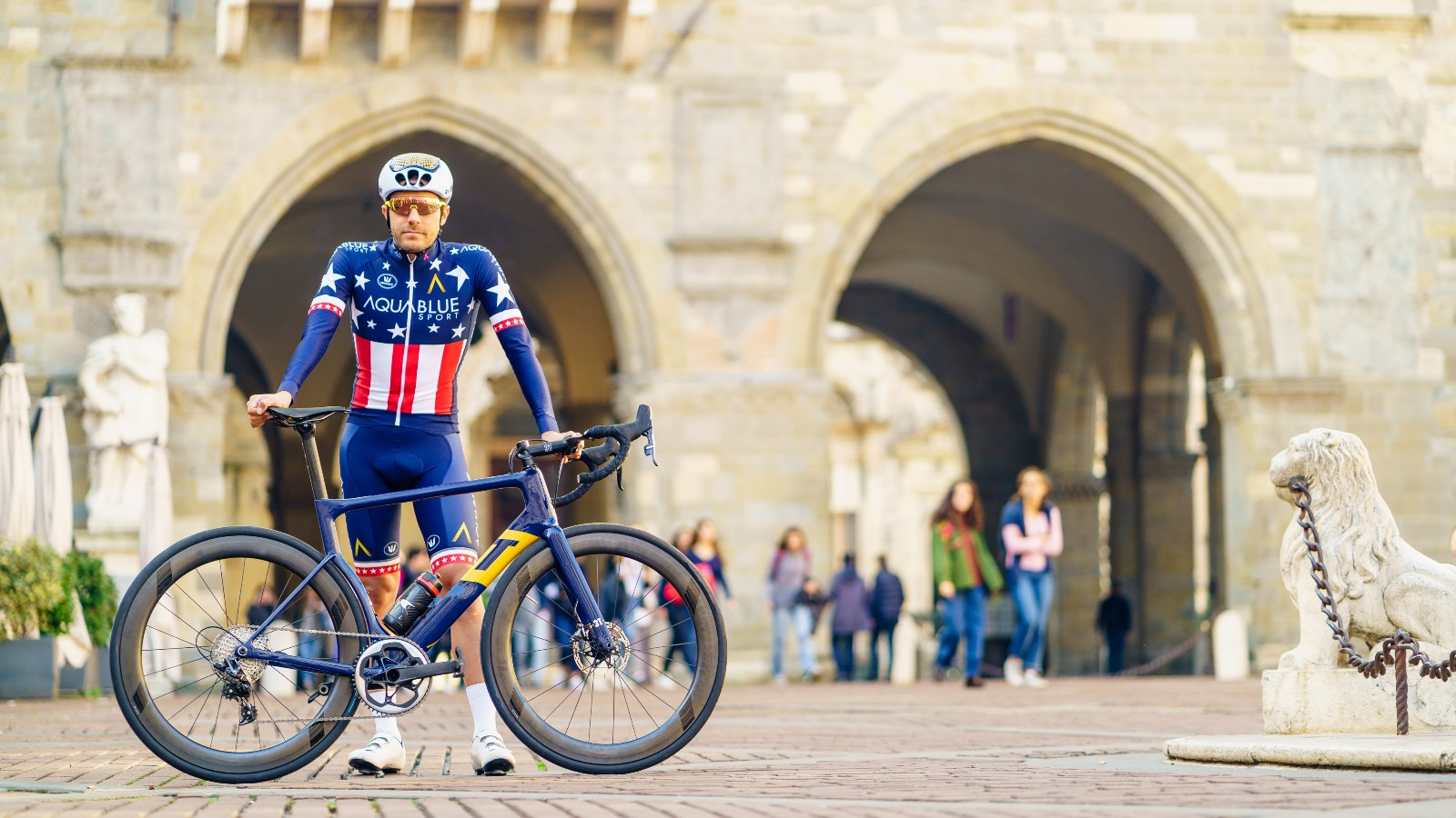 Warbasse shows off his new bike