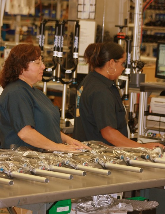 Employees work two shifts to assemble forks and shocks for bikes, ATVs, snowmobiles and motos.