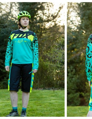 The new Fox women's DH kit comes in two colour ways: turquoise, black and yellow (pictured) and purple, pink and grey