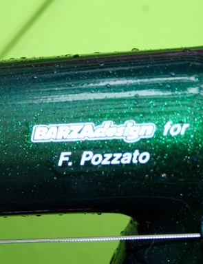 Barza has created a special design for Pozzato and has been decorating frames in the peloton for years including those of current world champion Paolo Bettini.