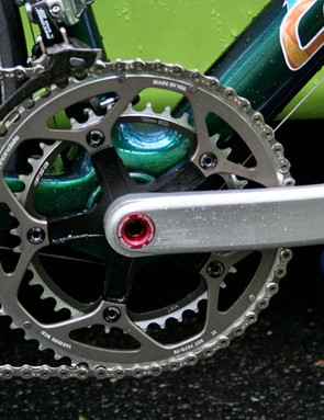 The Cannondale Hollowgram SL chainset is the one exception to the Campagnolo Record groupset.