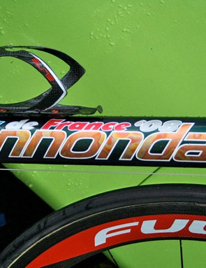 Pippo's oversized SuperSix down tube makes sure there is no mistaking which race this bike was decorated for.