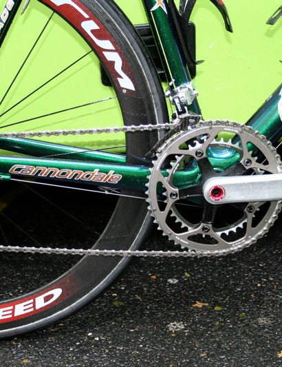 The Liquigas team's drivetrain is a mixture of Campagnolo and Cannondale.