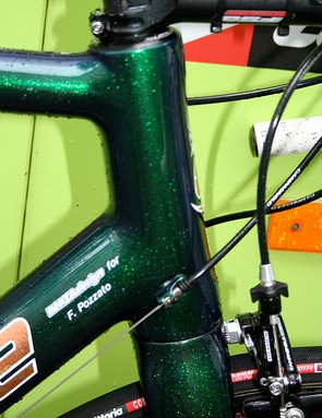 The head tube of the SuperSix carries a consistent outside diameter through its length but the steerer inside widens to 1 1/2