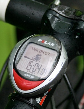 Pippo records his bike's speed as well as his own with a Polar CS400 HRM and computer.