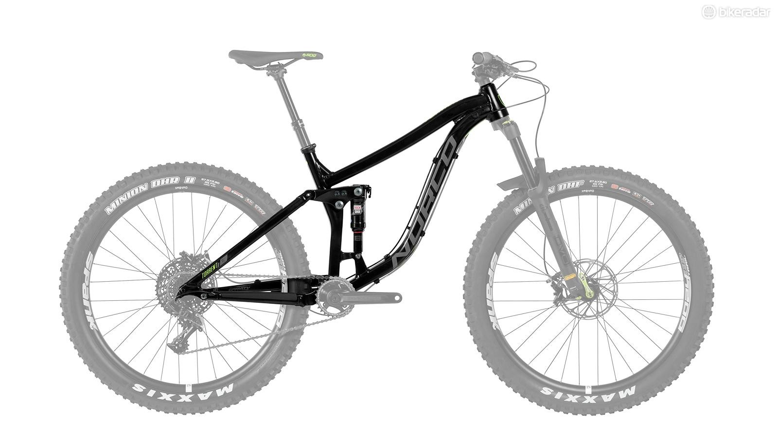 Norco offers the Torrent FS+ as a frame with a Rockshox Deluxe RT Debonair shock