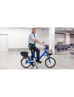 Staff like Mathias have access to a fleet of bikes at Frankfurt airport