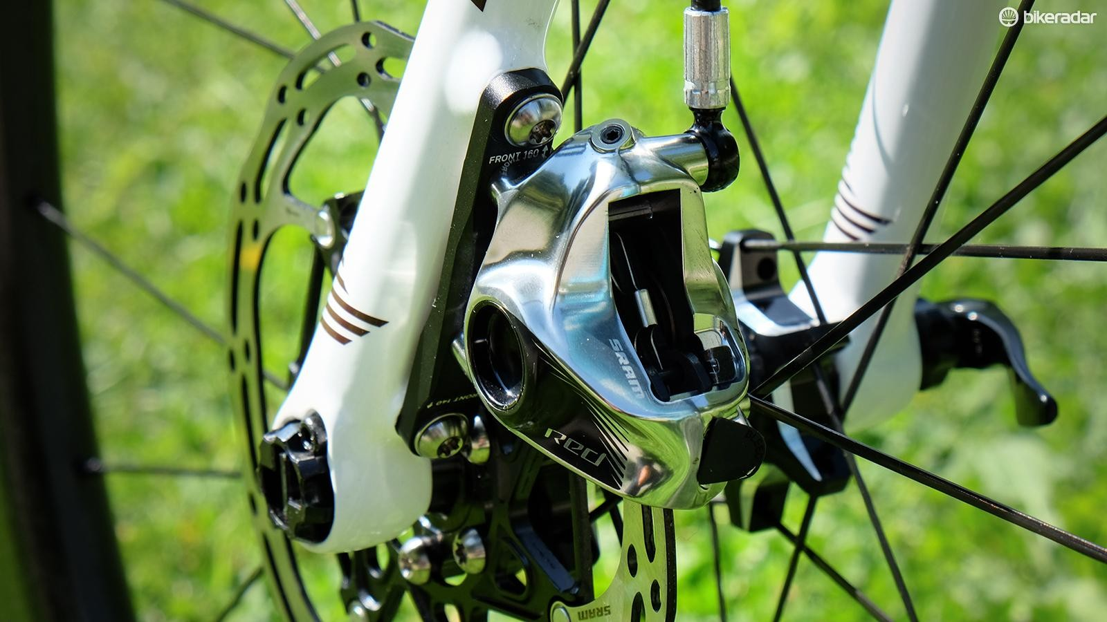 SRAM Red eTap HRD uses the same lightweight calipers as the company's Level mountain bike brakes