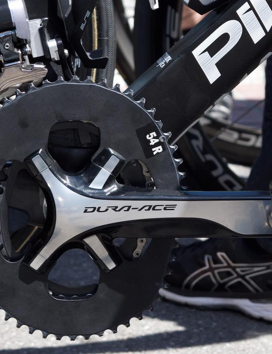 The Dauphine had many Tour de France contenders in attendance. Chris Froome won this year's event while pushing this huge 54 tooth elliptical chainring