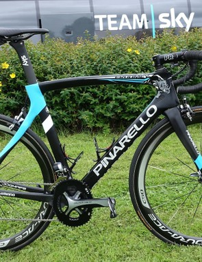 Pinarello prepared a custom Dogma F8 for two-time Tour de France winner and this year's favorite Chris Froome. The subtle finish features a rhinoceros in reference to Froome's African roots and to help bring awareness to the precarious situation of the iconic animal