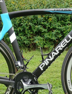 The rhino graphics are in addition to Team Sky's normal paint. Froome's 56cm bike has several special touches in its parts selection as well