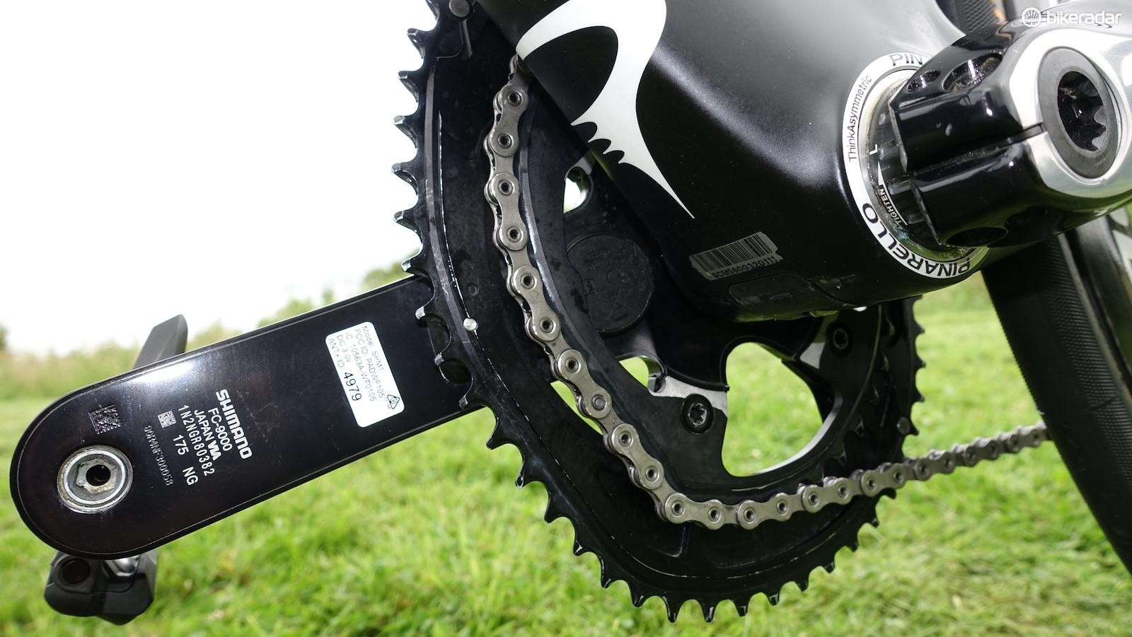 Froome and company use prototype dual-sided Stages power meters. You can also see that mechanics have filed down the inside edges on the inner chainring to better clear the chainstay