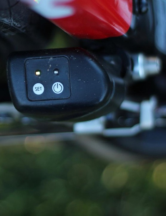 The shifters communicate on ANT (not ANT+) to the system's brain atop the front derailleur, which then relays shifts back to the rear