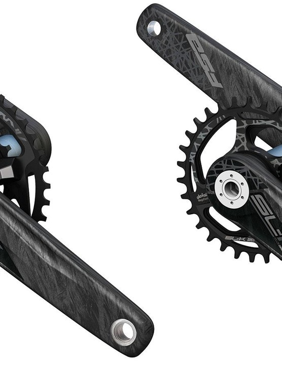 On the high-end side, FSA's 495g (estimated) SL-K cranks feature hollow carbon arms with a uni-directional carbon finish and are available in 170mm and 175mm lengths