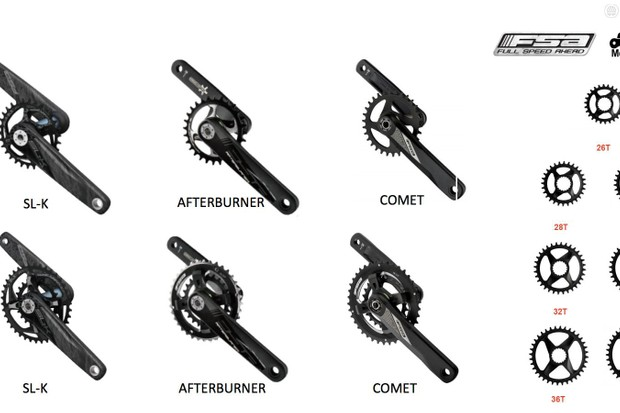 Options abound with FSA's new cranksets. Covering every bottom bracket standard, and ready for single or double chainrings, FSA's 2017 range looks good for choices and compatibility