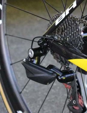 A close-up of the FSA rear derailleur