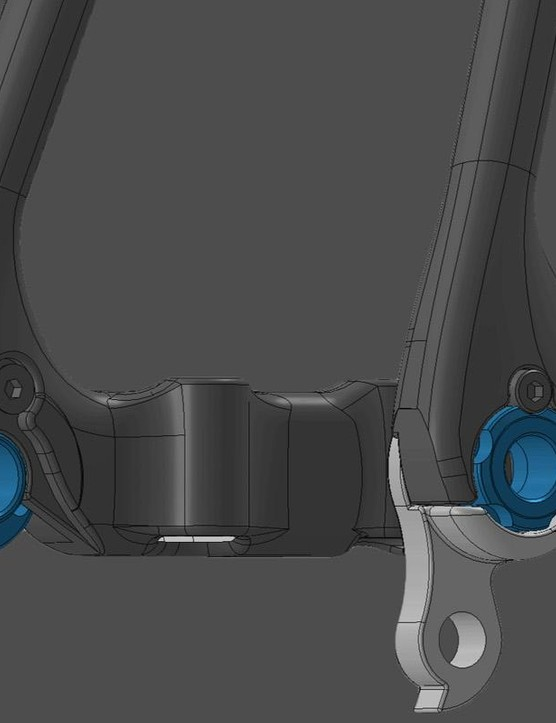A 3D rendering of the Gran Fondo's switchable rear 12mm thru-axle