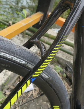 The 'Wave' stays are claimed to disrupt the path of impacts between the rear wheel and the rear of the rider