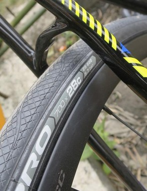 Big-volume 28c Vittoria Rubino Pros come on the 1.3, but there's definitely space for more