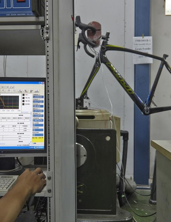 The frameset being tested in Taiwan's CHC labs