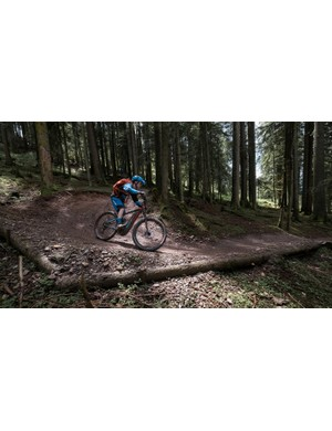 The Full-E+ feels more at home on groomed, flowing trails than technical, natural stuff