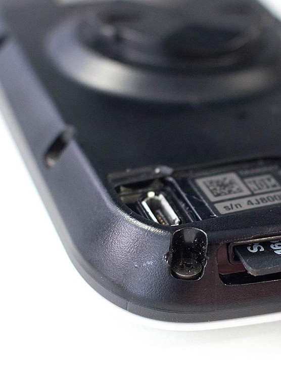 The Micro-SD card slot is protected by some rubber, and there's a charging port on the back too