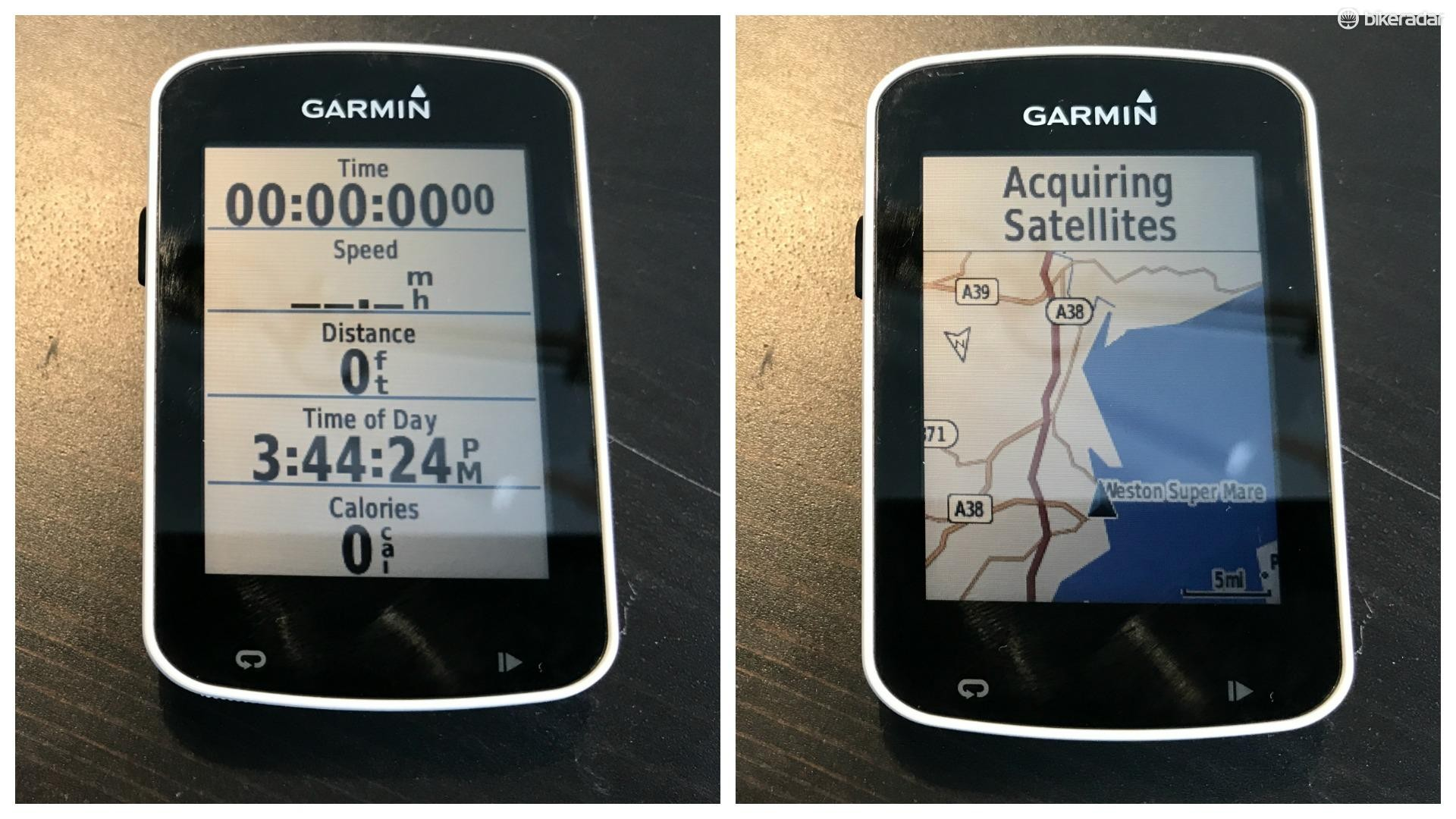 You can swipe through a selection of screens while riding, with displays showing ride stats and metrics, or a map view