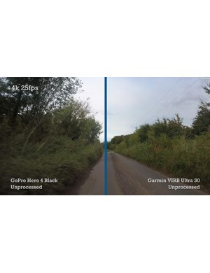 Here you can clearly see the difference in detail between 4K footage from the Garmin Virb Ultra 30 and GoPro Hero 4 Black