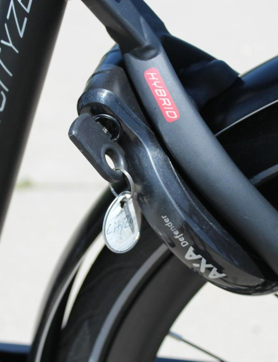 Although virtually unseen in the US, these integrated rear-wheel locks make sense for heavy e-bikes; a thief could take the whole bike if they could lift it, but they couldn't pedal it away