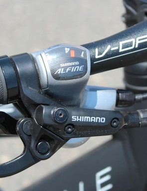 Shimano provides hydraulic braking and eight internal gears