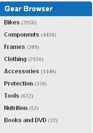 Improved gear browser on BikeRadar.com