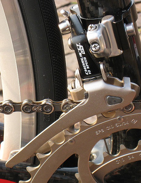 Campagnolo's newest front derailleur designs can be used for both standard and compact cranksets.