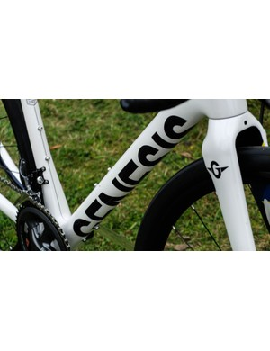 Cool contrasting logos on the downtube