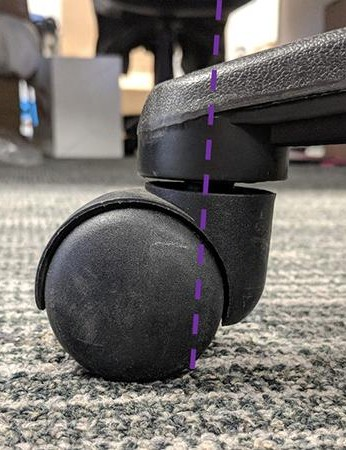 An office chair's caster wheel. The contact patch trails behind the steering axis (purple dashed line) much like a bike's front wheel