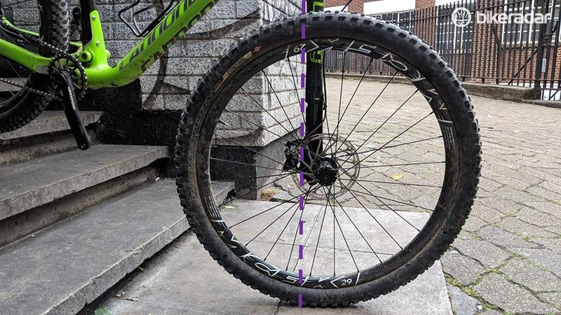 When the bike is on a steeper incline than the ground under the front wheel, the steering axis can move behind the contact patch
