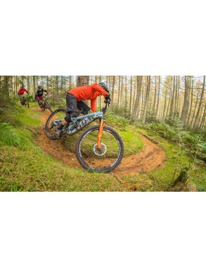 Cornering tightly while the bike is inclined downwards can reduce trail significantly. In extreme circumstances, this can make the bike hard to handle