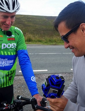 Sean Kelly's bike gets fitted with the special jig