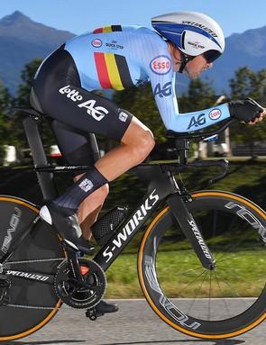 Laurens De Plus of Belgium wore the new speed suit with an external seat pad