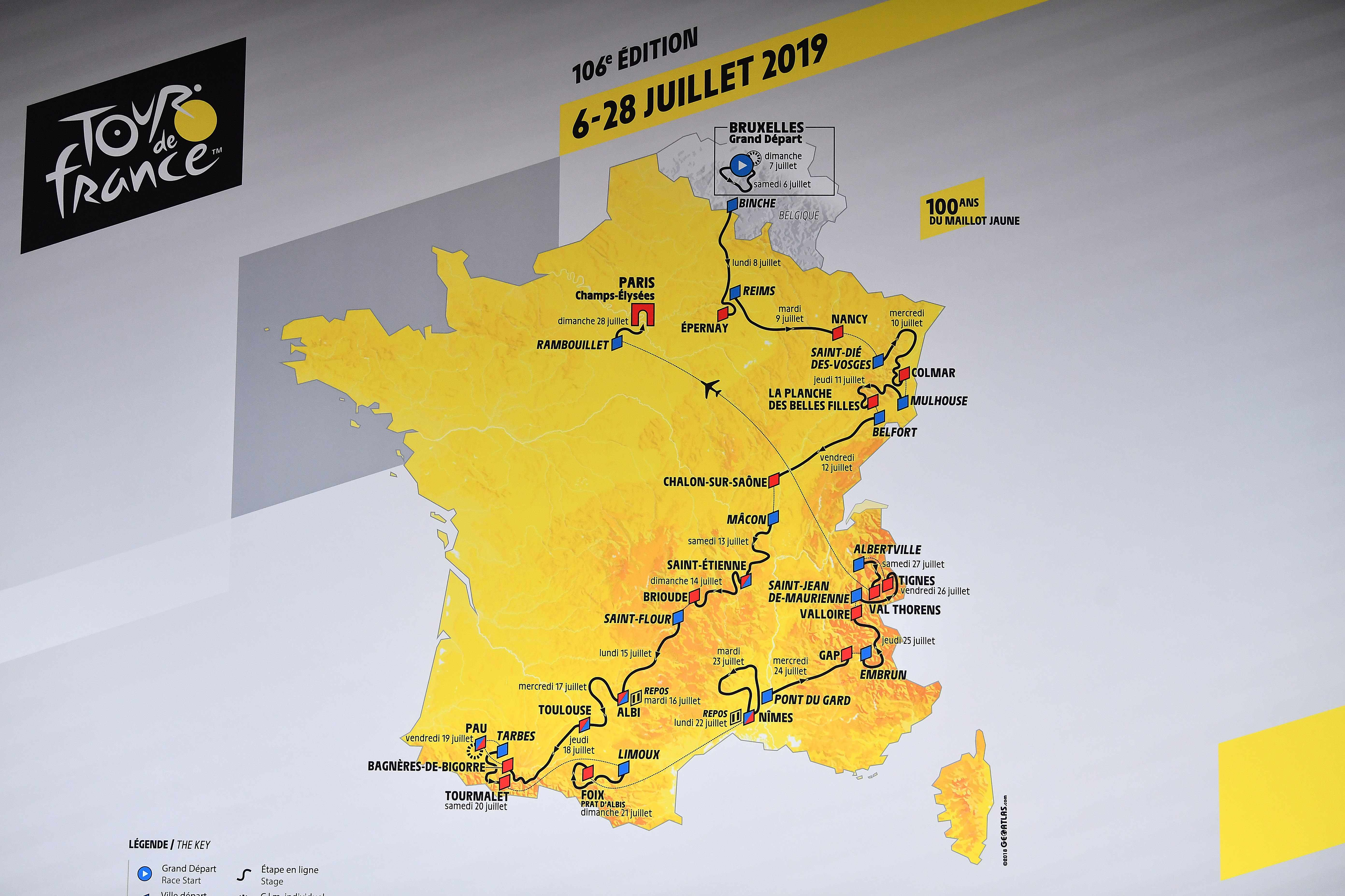 The 2019 Tour de France route map