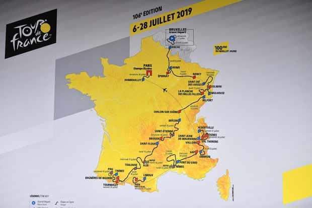 The 2019 Tour de France route map