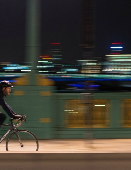 When riding at night in the city, street lamps will help show the way — but they're not enough to help other road users spot you