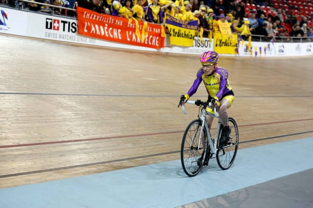 105-year-old Frenchman Robert Marchand on his way to setting a one-hour track cycling world record at 22.547km in the over-105 age group