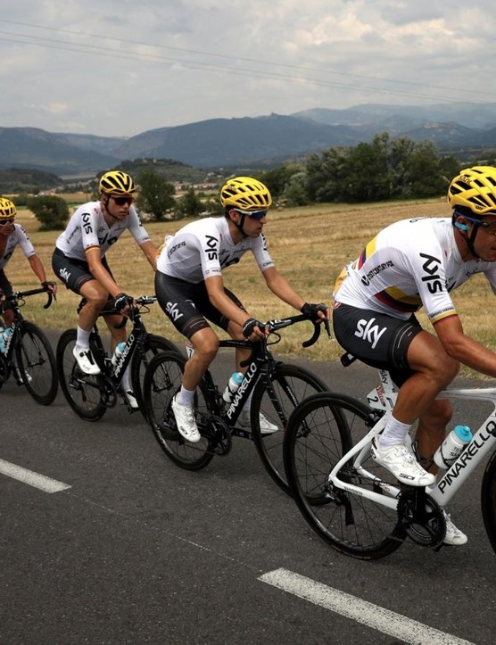 The white jersey and yellow helmet combination became a familiar sight at the head of the peloton