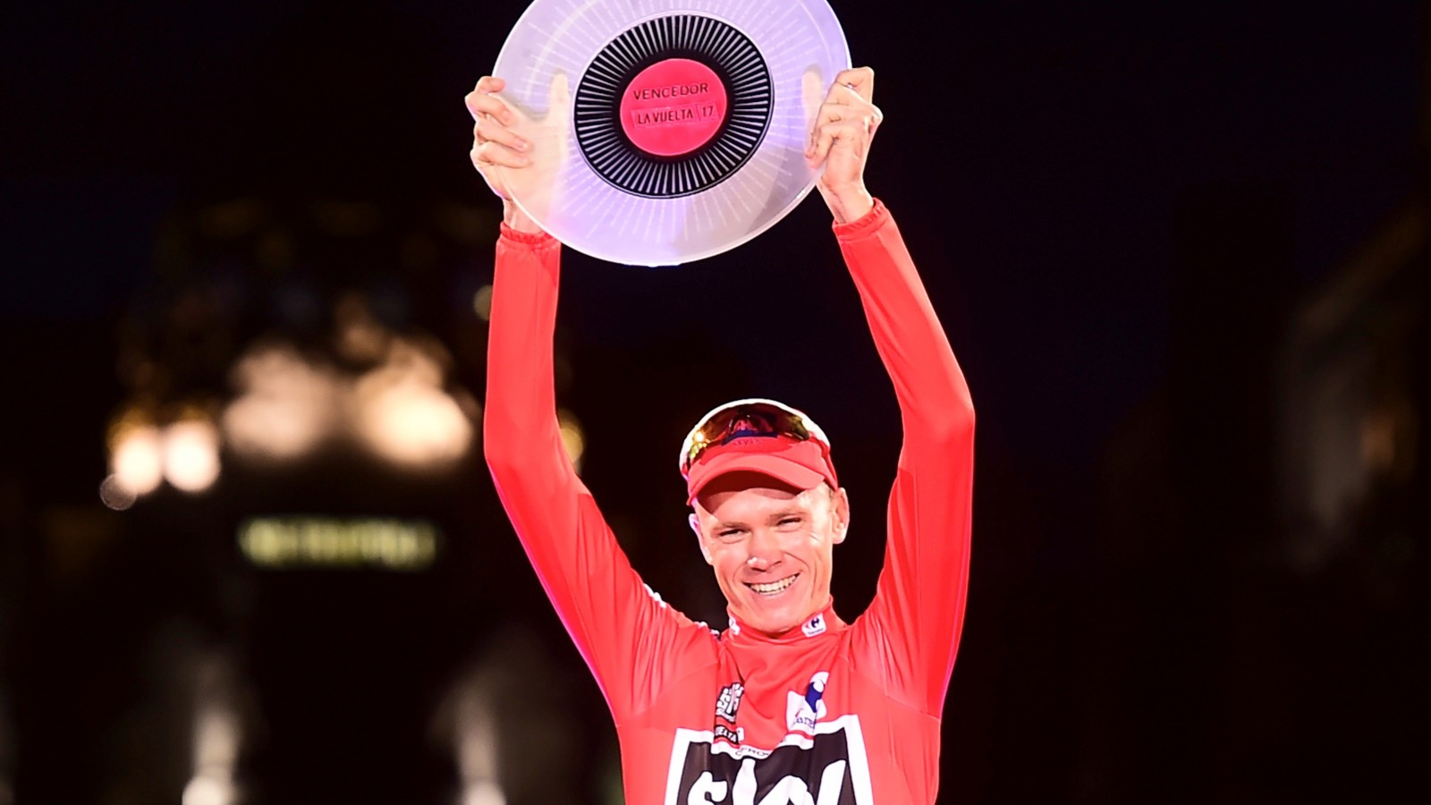 Chris Froome celebrates after winning the 72nd edition of the Vuelta