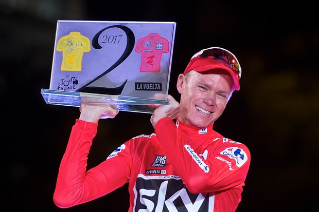 Chris Froome celebrates on the podium after winning the 72nd edition of the Vuelta a Espana in 2017