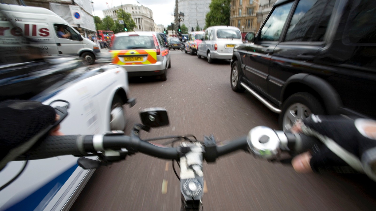 Be alert when weaving between stationary traffic — don't get boxed in