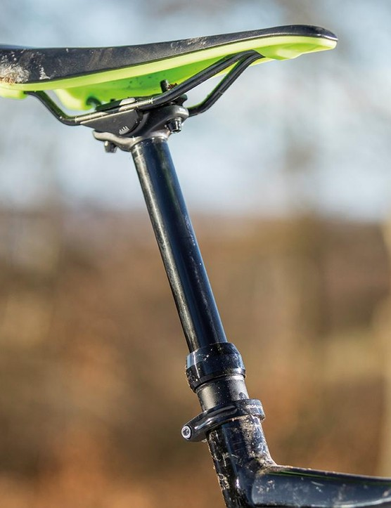 A dropper is unusual on a 110mm-travel bike,  but very handy on the descents