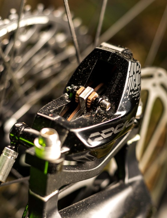 The RSC version of the brake gets lighter hardware and phenolic pistons