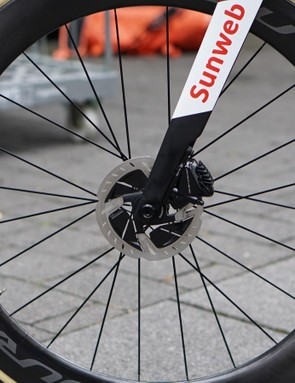 Disc front wheels require more substantial spoke lacing than comparable rim-brake models