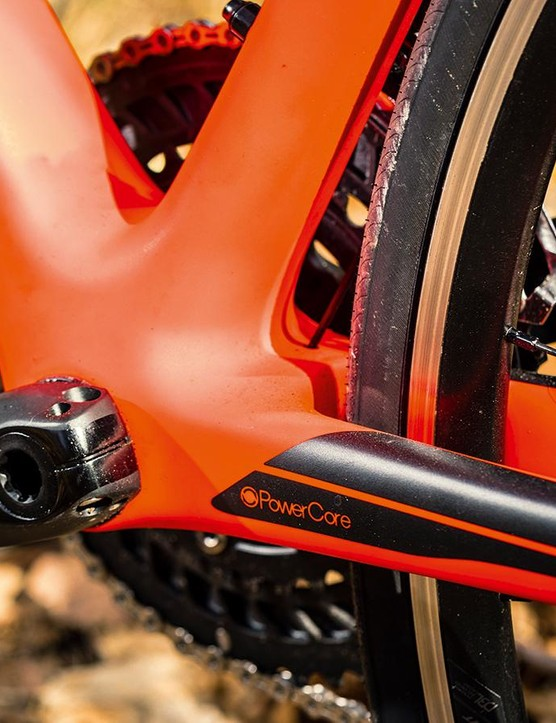 The broad bottom-bracket shell helps push power out